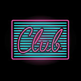 Light neon club label vector illustration. Royalty Free Stock Images