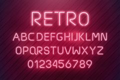 Light neon font letter set. Bar sign vector type. Glowing casino and cinema red text alphabet on wood planks wall. Retro. Light neon font letter set. Bar sign stock illustration