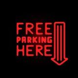 Light neon free parking label vector illustration. Stock Photo