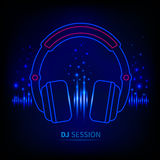 Light neon Headphones Royalty Free Stock Images