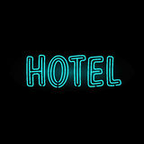 Light neon hotel label vector illustration. Shop font decorative symbol night bright decoration. Vegas shape abstract text objects entrance element Royalty Free Stock Images