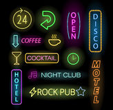 Light neon labels vector illustration Stock Photography