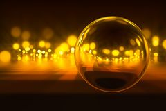 Light in night. Transparent sphere with reflection of blurred light Stock Photo