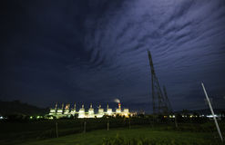 Light in night blue sky. Electric thailand night landscapen building stock image
