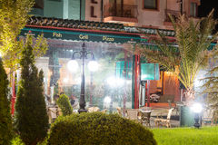 Light night restaurant in Pomorie, Bulgaria stock photography