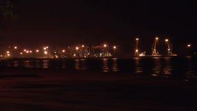 Light night seaport stock footage