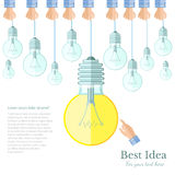 light off and only one light on Idea flat background Stock Images