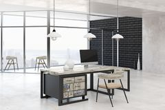 Light office with city view. Light office interior with blank computer, other items on desk and bright city view. Mock up, 3D Rendering vector illustration