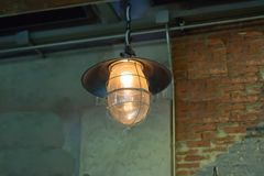 Light on the old brick and wood walls. stock image