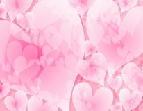 Light Opaque Pink Hearts Background. A background pattern in light pink and white colors with opaque hearts as subtle texture stock illustration