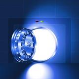 Light open door safe blue Stock Photos