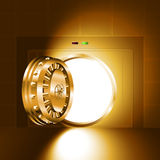 Light open door safe gold. Light through an open door of the bank safe (bank vault). The gold version. EPS-8, without Meshes Royalty Free Stock Photo