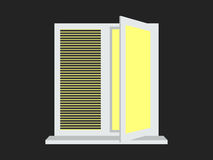 The light from the open window with shutters. Yellow light. Vector Stock Photo