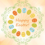 Light orange background with easter eggs - vector happy easter. Light orange vector background with easter eggs - happy easter vector illustration