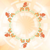 orange vector background with flowers and butterflies Royalty Free Stock Photos