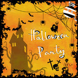 Light orange love halloween greeting card with ghost,bat,skeleto. N,obweb and castle Stock Photo