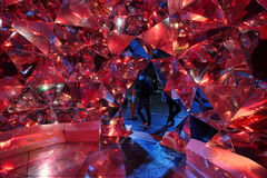 Light Origami in red at Vivid Sydney Stock Photos