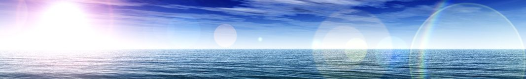 Light over the ocean, sunset panorama over the sea Royalty Free Stock Photos