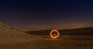 Light paining in night desert Royalty Free Stock Photos