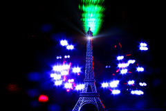Light paint-Mini tower Eiffel. Lighted with laser and another sources Royalty Free Stock Images