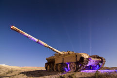 Light Painted Abandoned Tank Royalty Free Stock Photography