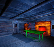 Light Painted Cabin Interior Stock Image