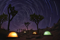 Light Painted Landscape of Camping and Stars Royalty Free Stock Image