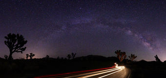 Light Painted Landscape of Milky Way Stars Panorama Royalty Free Stock Photography