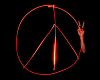 Light Painted Peace Sign Stock Images