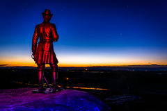 Light-painted statue at night on Little Round Top in Gettysburg, Pennsylvania. royalty free stock photography