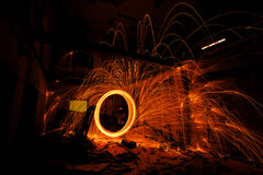 Light painting in abandon house Stock Images