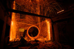 Light painting in abandon house Royalty Free Stock Photography