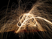 Light painting, abstract scribble with sparks, pat Royalty Free Stock Photos