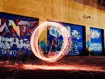 Light painting in alleyway Royalty Free Stock Images