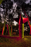 Light painting bombs. Red yellow old abandoned bombs bomb missile plane aircraft paintballing paintball arena night dark sky forrest nature sky star trail long Stock Image