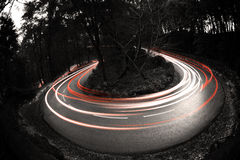 Light painting car. Light painting by car on mountain curves Stock Images