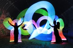 Light Painting With Color and Tube Lighting royalty free stock images