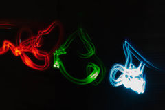 Light Painting. Colorful Light Painting red green and blue Stock Photo