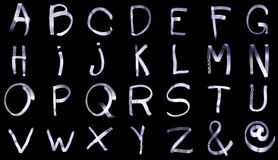 Light Painting Complete Alphabets from A to Z. Including e-mail icon and the ampersand symbol Royalty Free Stock Image