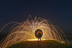 Light Painting with fire circle and two lovers Stock Images