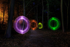 Light painting in forest Stock Photography