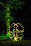 Light painting in forest Royalty Free Stock Photography