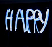 Light Painting HAPPY Stock Photography