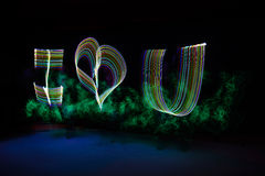 Light painting I love You, long exposure Stock Photos