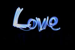 Light Painting Love Stock Images