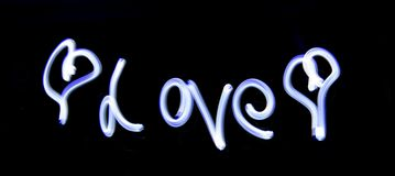 Light Painting Love Royalty Free Stock Images