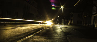Light painting. Movment on the city street Royalty Free Stock Photography