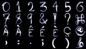Light Painting Numeral Alphabet Royalty Free Stock Photos