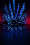 Light Painting Photography. Freezelight photo dancers. With blue rays Royalty Free Stock Photography