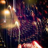 Light Painting Photography. Night photo with retro filter. Royalty Free Stock Photo
